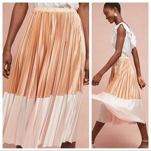 🆕NWT Anthropologie satin colorblock pleated skirt